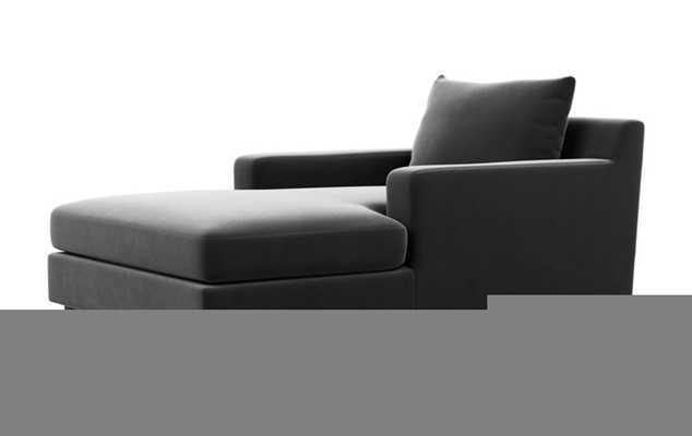Sloan Chaise Chaise Lounge with Black Noir Fabric, double down cushions, and Painted Black legs - Interior Define