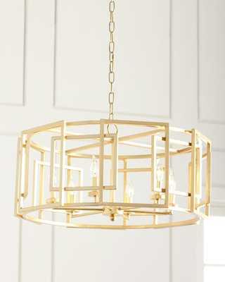Gold Leaf Square-Motif Drum Chandelier - Horchow