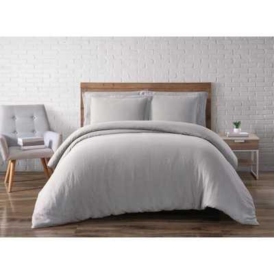 Linen Taupe Grey Queen Duvet Set - Home Depot