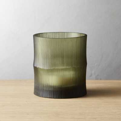 Bamboo Olive Green Tea Light Candle Holder - CB2