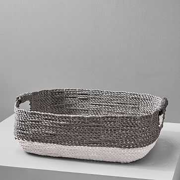 Two-Tone Underbed Basket, Gray/White - West Elm