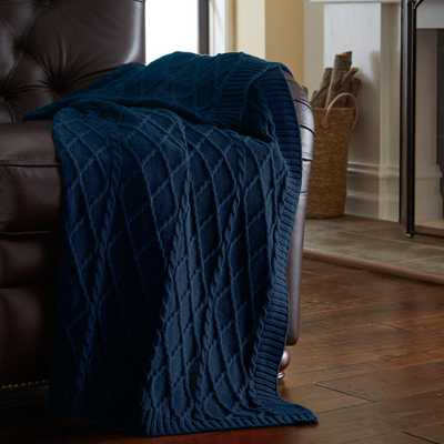 Teal Blue 100% Cotton Oversized Cable Diamond Knit Throws - Home Depot
