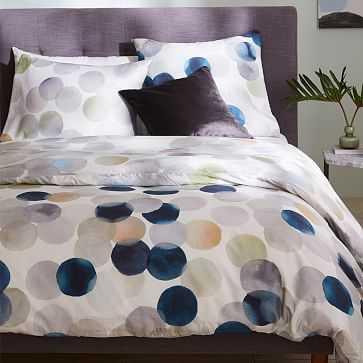 Organic Sateen Watercolor Dot Duvet, Full/Queen, Stone White - West Elm