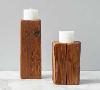 Cordoba Wooden Pillar Candle Holder, Set of 2, Natural - Pottery Barn
