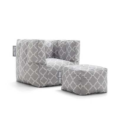 Cube Chair with Ottoman Gray Quatrafoil SmartMax Bean Bag - Home Depot