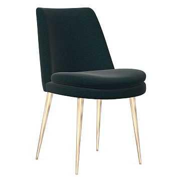 Finley Dining Chair, Low Back, Light Bronze Leg, Distressed Velvet, Peacock, Light Bronze - West Elm