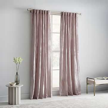 "Crinkle Velvet Curtain, 48""x96"", Dusty Blush - West Elm"