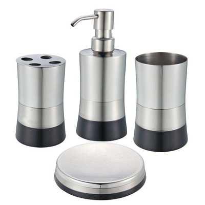 Hopeful Shiny Matte/ Colorblock Bottom 4-Piece Bath Accessory Set in Black, Black Finish With Stainless Steel Top - Home Depot