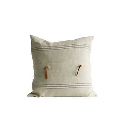Bartlette Leather Trim Cotton Throw Pillow - Birch Lane