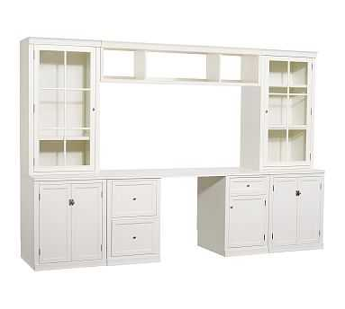 Logan Small Office Suite with Doors and Glass Towers & Bridge, Antique White - Pottery Barn