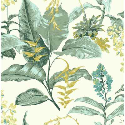 Maui Green Botanical Wallpaper Sample - Home Depot