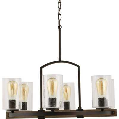 Home Decorators Collection Newbury Manor Collection 25 in. 6-Light Vintage Bronze Chandelier with Clear Seeded Glass Shades - Home Depot