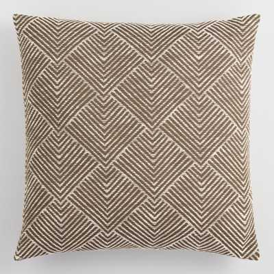 Brown Geometric Angle Jacquard Throw Pillow by World Market - with Insert - World Market/Cost Plus