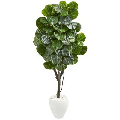 Nearly Natural Indoor 68 Fiddle Leaf Fig Artificial Tree in White Planter - Home Depot