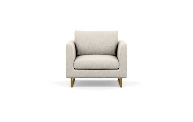 Owens Accent Chair with Beige Wheat Fabric and Matte Brass legs - Interior Define
