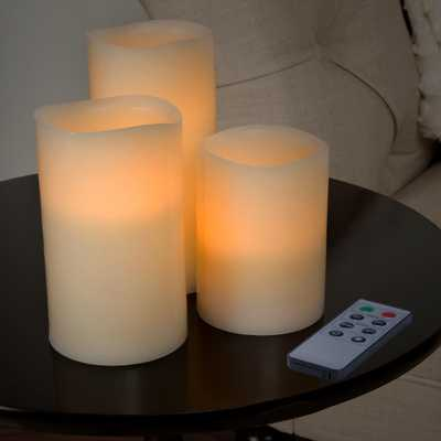 Lavish Home 3-Piece LED Flameless Votive Candle Set with Remote, Beige - Home Depot