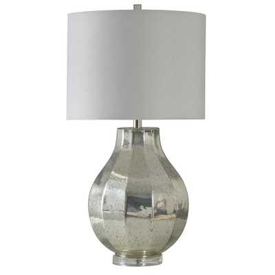 StyleCraft 31 in. Silver Table Lamp with White Hardback Fabric Shade - Home Depot