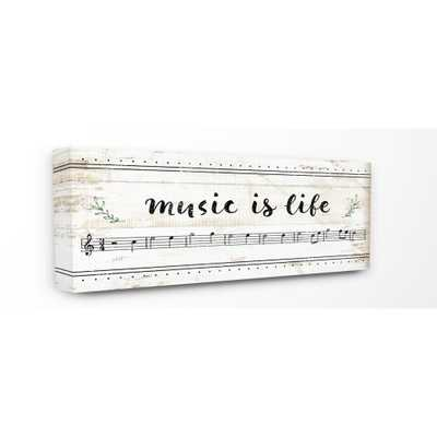 """13 in. x 30 in. """"Music Is Life Composition Paper with Black and White Notes"""" by Artist Jennifer Pugh Canvas Wall Art, Multi-Colored - Home Depot"""