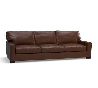 """Turner Square Arm Leather Grand Sofa 103.5"""", Down Blend Wrapped Cushions, Legacy Chocolate - Pottery Barn"""