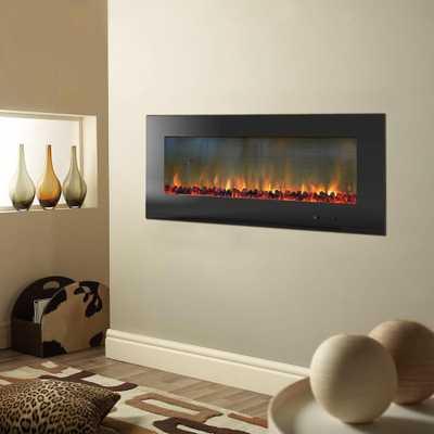 Metropolitan 56 in. Wall-Mount Electic Fireplace in Black - Home Depot