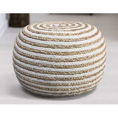 Fort Lupton Pouf, White - Wayfair