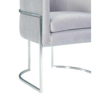 Giselle Grey Velvet Dining Chair - Silver Frame - Wayfair
