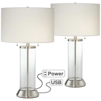 Fritz Glass Column USB Table Lamp Set of 2 - Lamps Plus