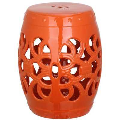 Safavieh Imperial Vine Orange Garden Patio Stool - Home Depot