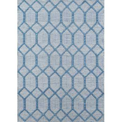 Langdon Cambridge Handwoven Flatweave Wool Blue Area Rug - Wayfair