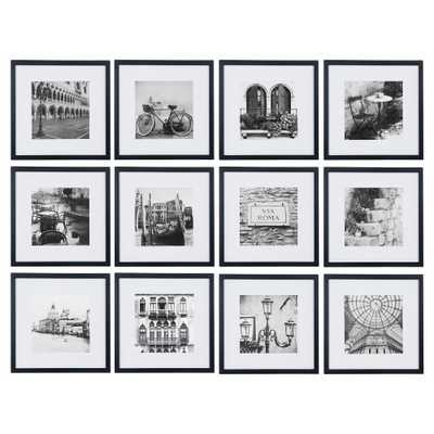 """12 Piece 12""""X12"""" Black Frame Kit, Matted To 8""""X8"""" - Gallery Perfect - Target"""