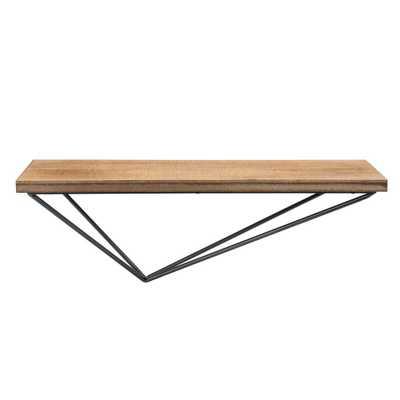 Danya B Magnolia Ranch Pine Floating Shelf with Diamond Asymmetrical Bracket, NATURAL - Home Depot