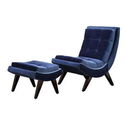 Blue Velvet Chair with Ottoman - Home Depot