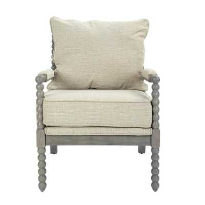 OSP Home Furnishings Abbot Linen Fabric Chair with Brushed Grey Base, Linen Polyester - Home Depot