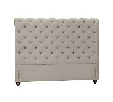Chesterfield Upholstered Headboard, Queen, Performance Twill Silver Taupe - Pottery Barn