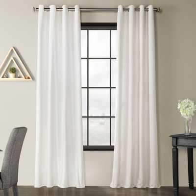 Exclusive Fabrics & Furnishings Pacific Pearl White Solid Country Cotton Linen Weave Grommet Curtain - 50 in. W x 84 I n. L - Home Depot