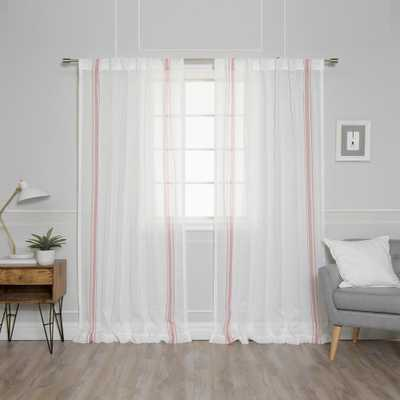 Best Home Fashion 84 in. L Sheer Faux Linen Pink Triple Stripe Curtains in Ivory (2-Pack), Ivory Linen Pink Triple Stripe - Home Depot