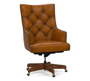 Radcliffe Leather Desk Chair Rustic Brown Base, Burnished Bourbon - Pottery Barn