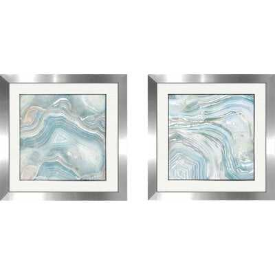 'Agate in Blue I' 2 Piece Framed Acrylic Painting Print Set - Wayfair