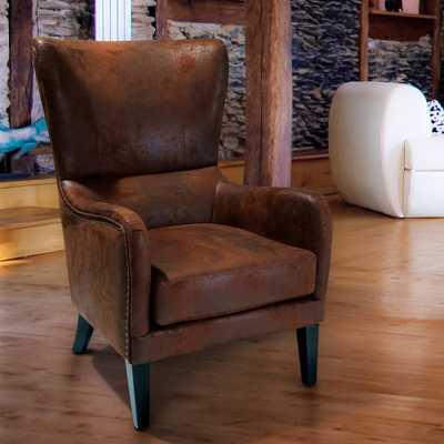 Lorenzo Brown Microfiber Studded Club Chair - Home Depot