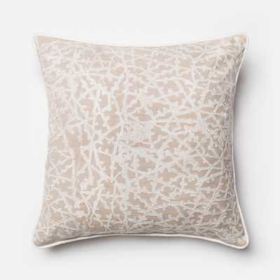 """PILLOWS - BEIGE / WHITE - 22"""" X 22"""" Cover Only - Loma Threads"""