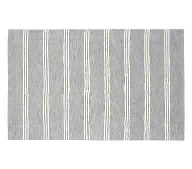 Blake Stripe Rug, 8x10', Gray - Pottery Barn Kids