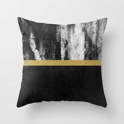 """Golden Line / Black Throw Pillow - Outdoor Cover (18"""" x 18"""") with pillow insert by Elisabethfredriksson - Society6"""