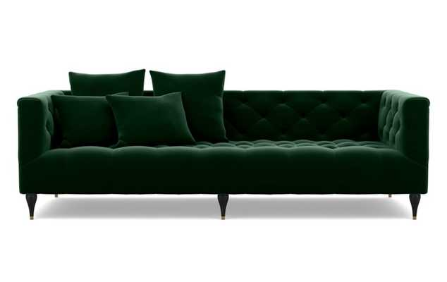 Ms. Chesterfield Sofa with Emerald Fabric and Matte Black with Brass Cap legs - Interior Define