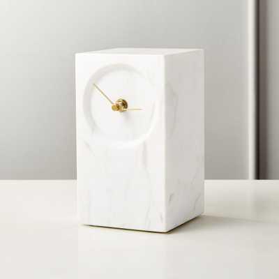 Desi White Marble Table Clock - CB2