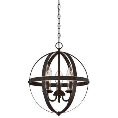 Stella Mira 3-Light Oil Rubbed Bronze with Highlights Outdoor Hanging Chandelier - Home Depot