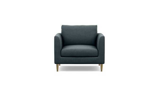 Owens Accent Chair with Blue Union Fabric and Brass Plated legs - Interior Define