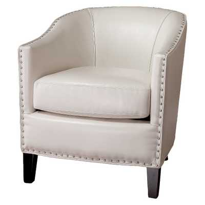 Austin Ivory Leather Club Chair - White - Christopher Knight Home - Target