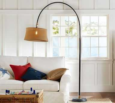 Winslow Arc Sectional Floor Lamp, Natural Burlap Shade - Pottery Barn