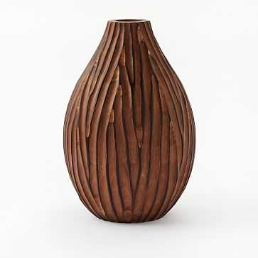 "Carved Wood Vase, Dark Wood, Tall, 12"" - West Elm"
