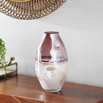 """Large Round Dimpled Translucent And Pastel Pink Vase, 7"""" X 12.5 - Wayfair"""